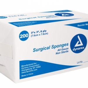 3″ x 3″ Non Sterile Gauze 8 Ply: Box of 200