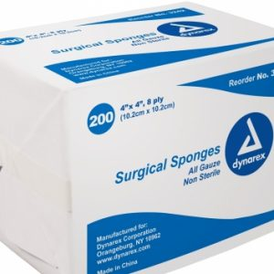 4″ x 4″ Non Sterile Gauze 8 Ply: Box of 200