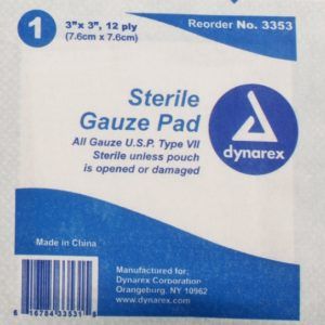 3″ x 3″ Sterile Gauze 12 Ply: Single Pad