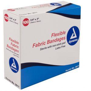 3/4″ x 3″ Adhesive Fabric Bandage Sterile Box of 50