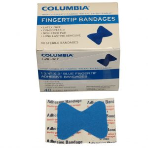1 3/4″ x 2″ BLUE FINGERTIP BANDAGES BOX OF 40