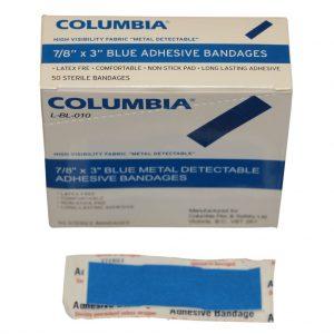 7/8″ x 3″ BLUE BANDAGE BOX OF 50 (1.9cm x 7.62cm)