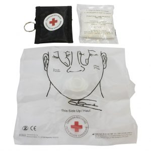 Red Cross – CPR Key Chain mask and gloves – Black
