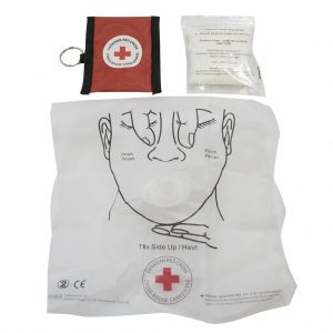 Red Cross – CPR Key Chain mask and gloves – Red